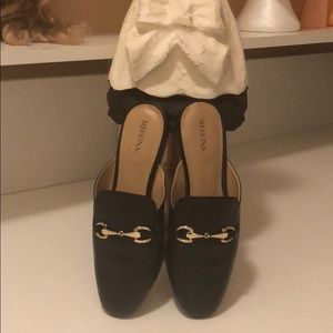 Merona mules with gold buckle